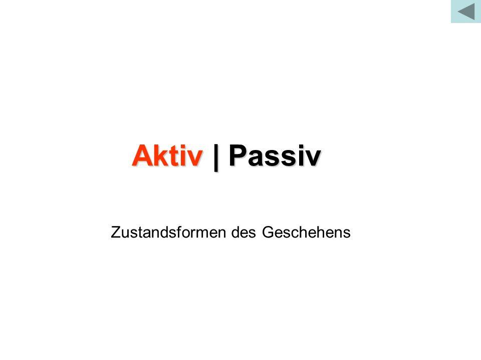 Aktiv | Passiv Zustandsformen des Geschehens