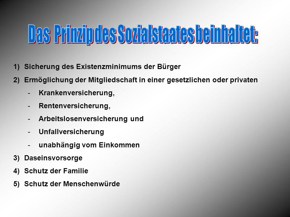 1)Sicherung des Existenzminimums der Bürger 2)Ermöglichung der Mitgliedschaft in einer gesetzlichen oder privaten -Krankenversicherung, -Rentenversich