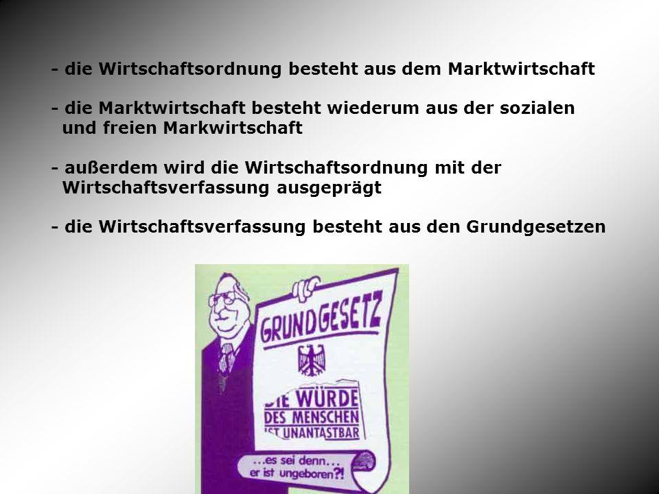 - die Wirtschaftsordnung besteht aus dem Marktwirtschaft - die Marktwirtschaft besteht wiederum aus der sozialen und freien Markwirtschaft - außerdem