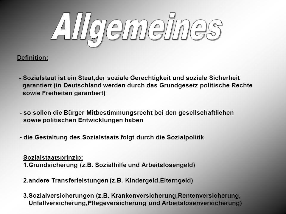 Definition: - Sozialstaat ist ein Staat,der soziale Gerechtigkeit und soziale Sicherheit garantiert (in Deutschland werden durch das Grundgesetz polit