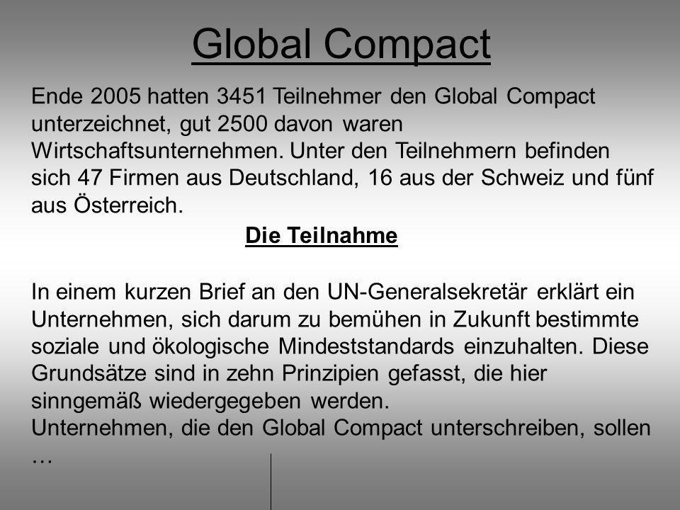 Global Compact Ende 2005 hatten 3451 Teilnehmer den Global Compact unterzeichnet, gut 2500 davon waren Wirtschaftsunternehmen.