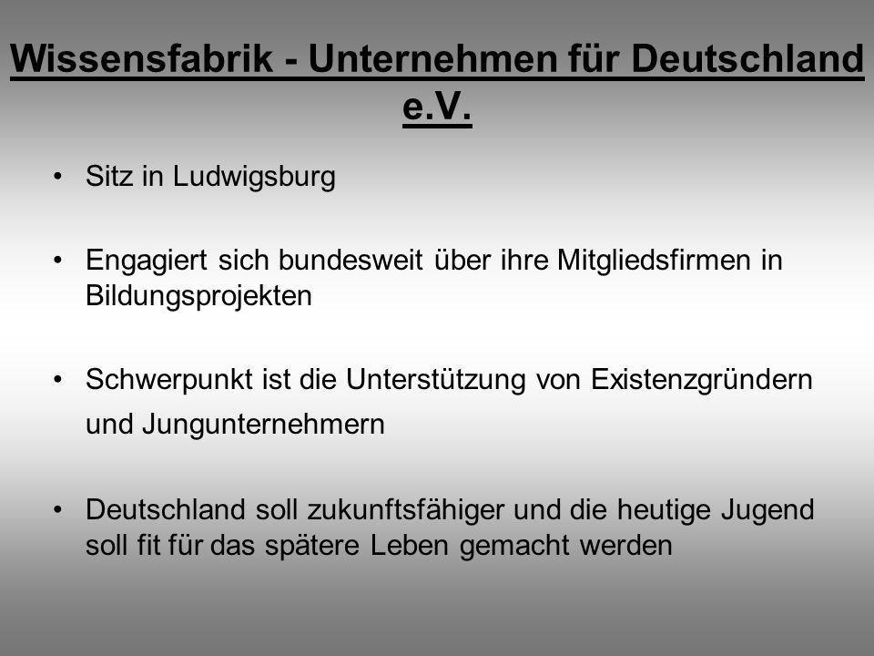 Wissensfabrik - Unternehmen für Deutschland e.V. Sitz in Ludwigsburg Engagiert sich bundesweit über ihre Mitgliedsfirmen in Bildungsprojekten Schwerpu