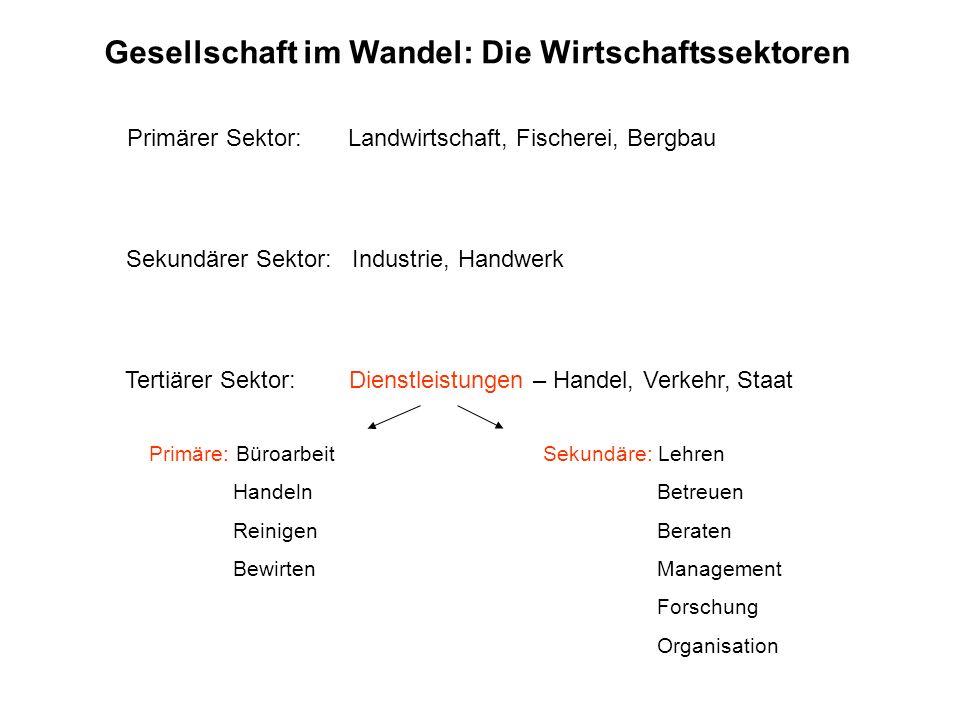 Gesellschaft im Wandel: Die Wirtschaftssektoren Tertiärer Sektor: Dienstleistungen – Handel, Verkehr, Staat Sekundärer Sektor: Industrie, Handwerk Pri