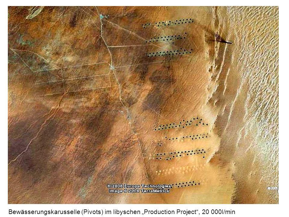 Bewässerungskarusselle (Pivots) im libyschen Production Project, 20 000l/min