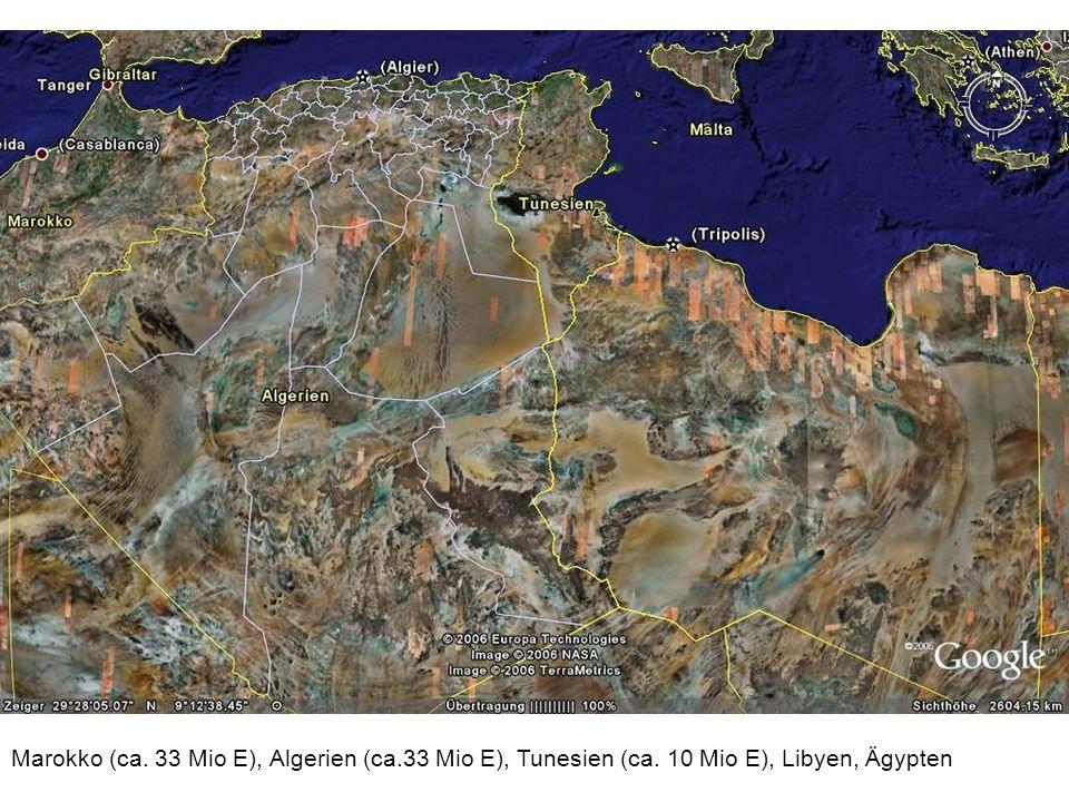 Marokko (ca. 33 Mio E), Algerien (ca.33 Mio E), Tunesien (ca. 10 Mio E), Libyen, Ägypten