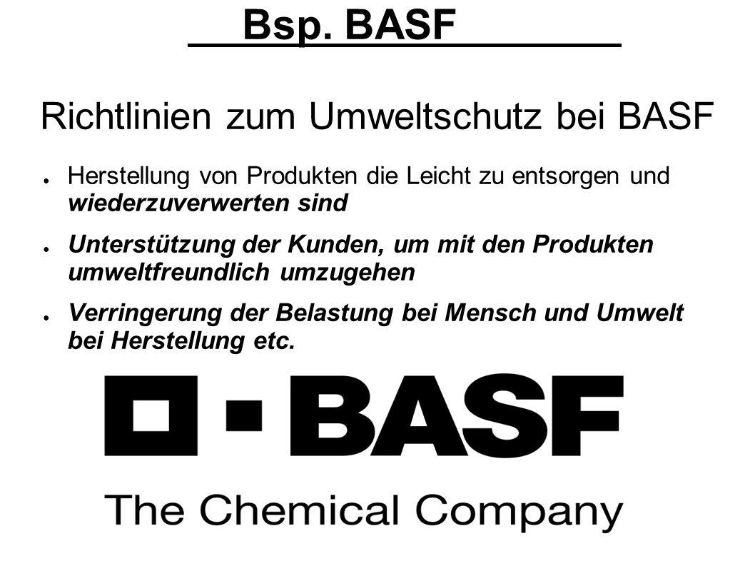 Bsp. BASF Richtlinien zum Umweltschutz bei BASF Herstellung von Produkten die Leicht zu entsorgen und wiederzuverwerten sind Unterstützung der Kunden,