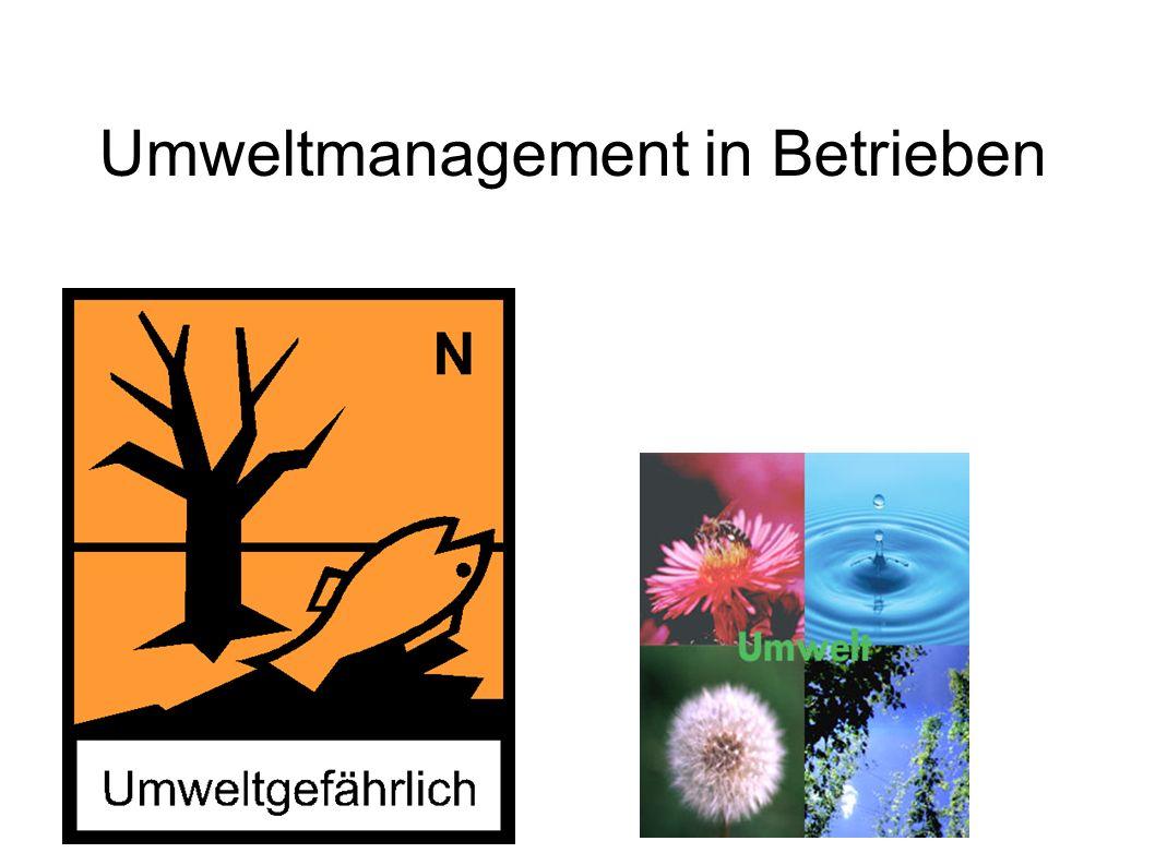 Allgemeines Umweltmanagement Umweltmanagement ist ein Teil des Managements in Betrieben Es dient zur Sicherung der Umwelt Verträglichkeit Unter Umweltmanagement fallen folgende Bereiche: -Umweltpolitik und Organisation- Umweltschutz -Umweltleistung -Einhaltung behördlicher Auflagen