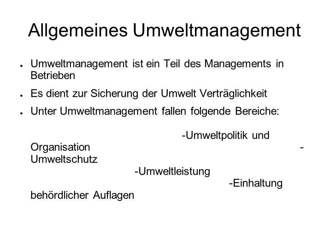 Allgemeines Umweltmanagement Umweltmanagement ist ein Teil des Managements in Betrieben Es dient zur Sicherung der Umwelt Verträglichkeit Unter Umwelt