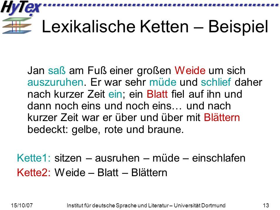 15/10/07Institut für deutsche Sprache und Literatur – Universität Dortmund13 Lexikalische Ketten – Beispiel Jan saß am Fuß einer großen Weide um sich auszuruhen.