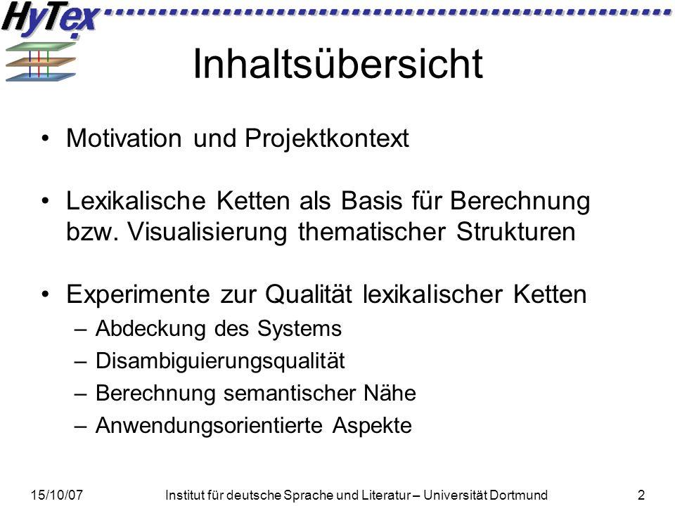 15/10/07Institut für deutsche Sprache und Literatur – Universität Dortmund23 Evaluationsphase I – Abdeckung Ohne Vorverarbeitung deckt GermaNet ca.