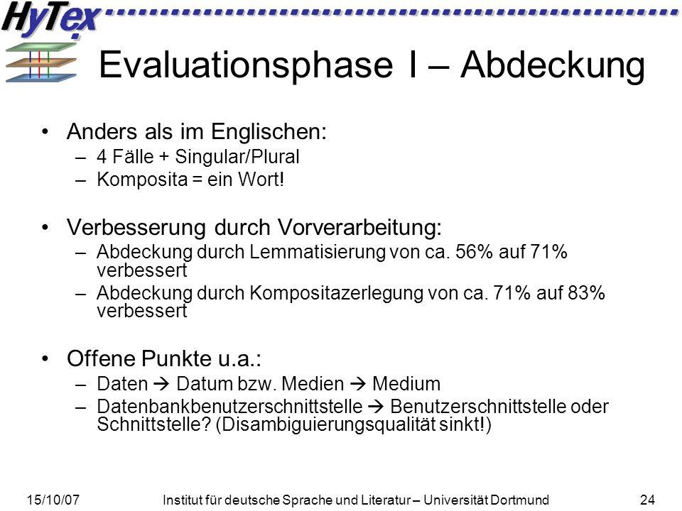 15/10/07Institut für deutsche Sprache und Literatur – Universität Dortmund24 Evaluationsphase I – Abdeckung Anders als im Englischen: –4 Fälle + Singular/Plural –Komposita = ein Wort.