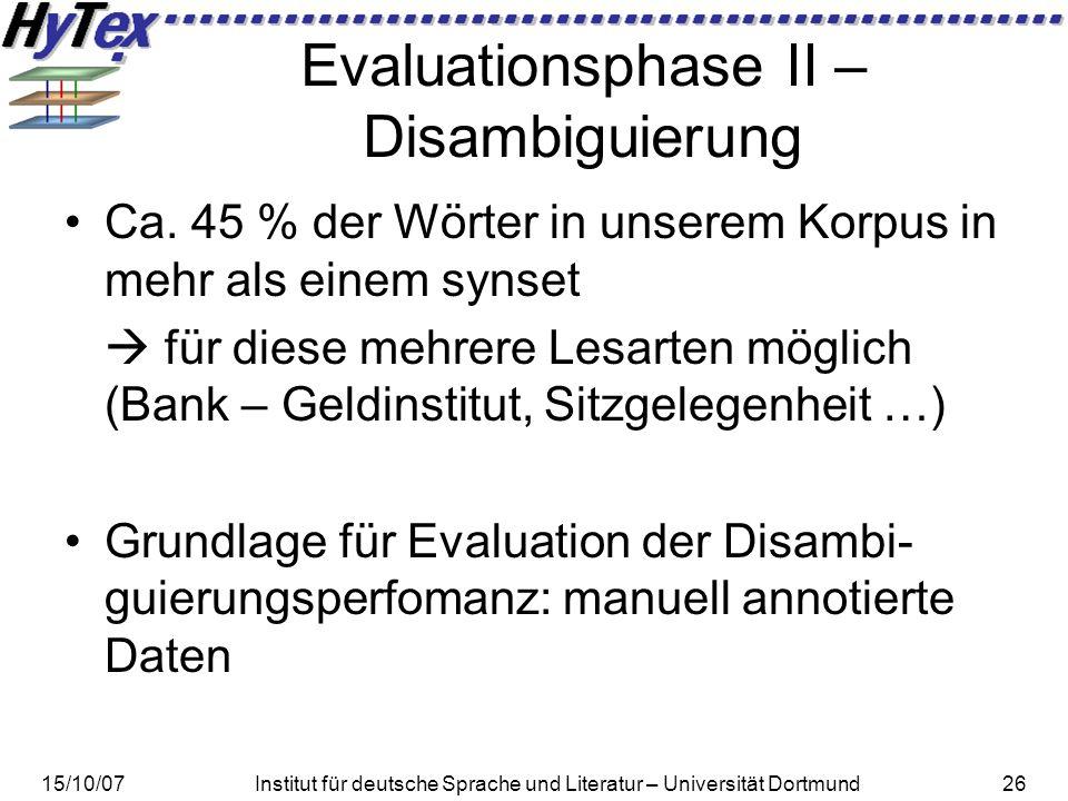 15/10/07Institut für deutsche Sprache und Literatur – Universität Dortmund26 Evaluationsphase II – Disambiguierung Ca.