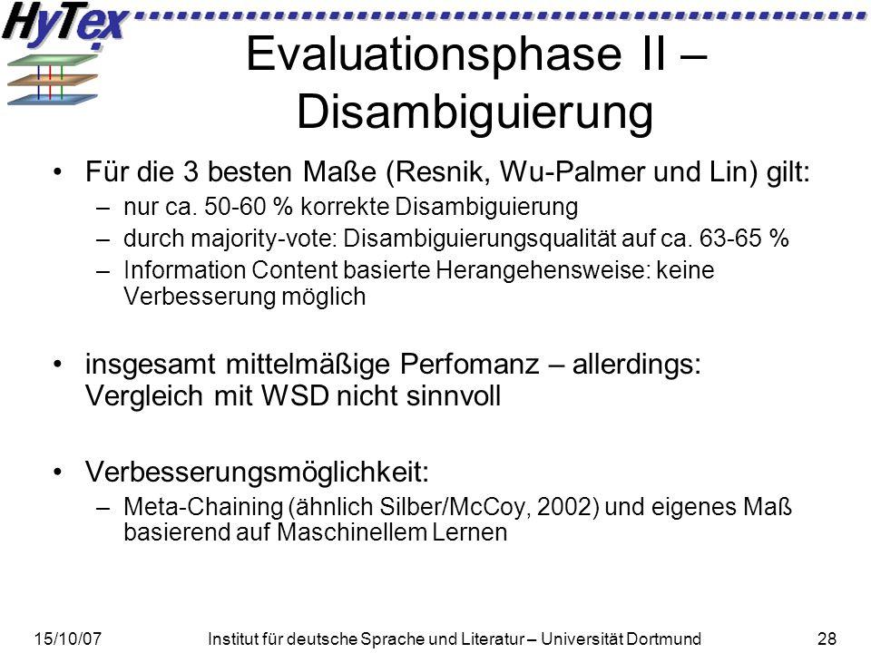 15/10/07Institut für deutsche Sprache und Literatur – Universität Dortmund28 Evaluationsphase II – Disambiguierung Für die 3 besten Maße (Resnik, Wu-Palmer und Lin) gilt: –nur ca.