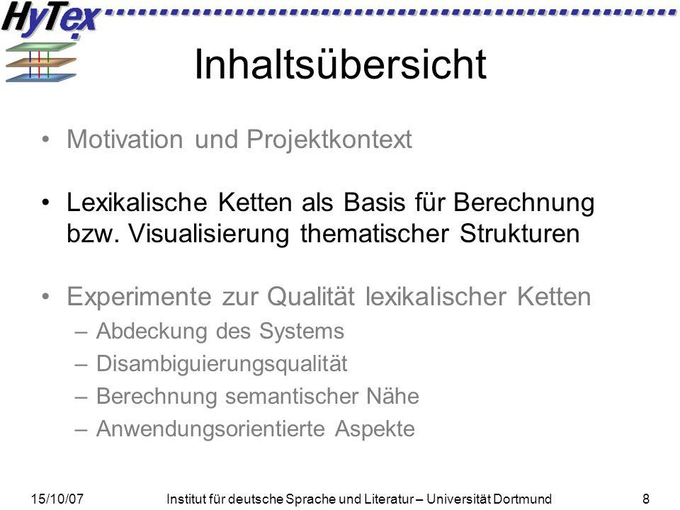 15/10/07Institut für deutsche Sprache und Literatur – Universität Dortmund9 Lexikalische Ketten – Beispiel Jan saß am Fuß einer großen Weide um sich auszuruhen.