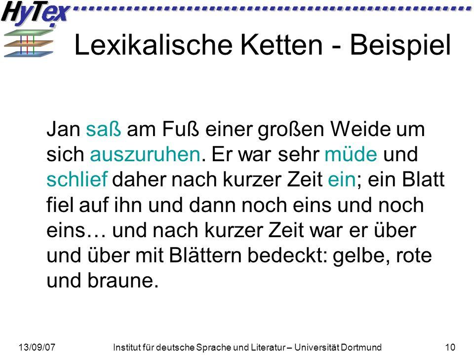 13/09/07Institut für deutsche Sprache und Literatur – Universität Dortmund10 Lexikalische Ketten - Beispiel Jan saß am Fuß einer großen Weide um sich