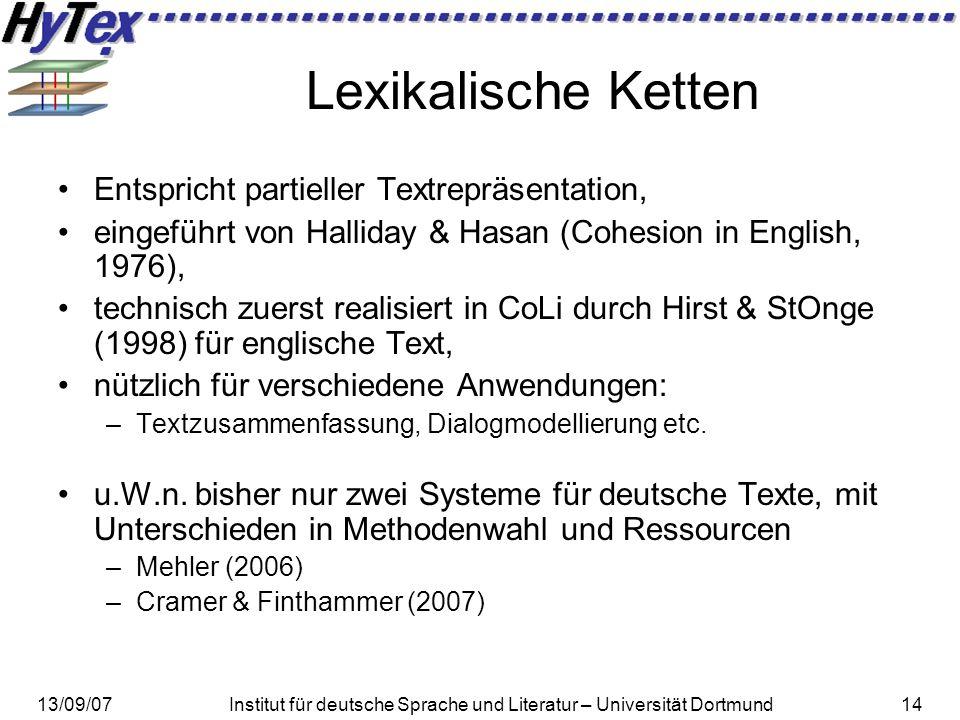 13/09/07Institut für deutsche Sprache und Literatur – Universität Dortmund14 Lexikalische Ketten Entspricht partieller Textrepräsentation, eingeführt