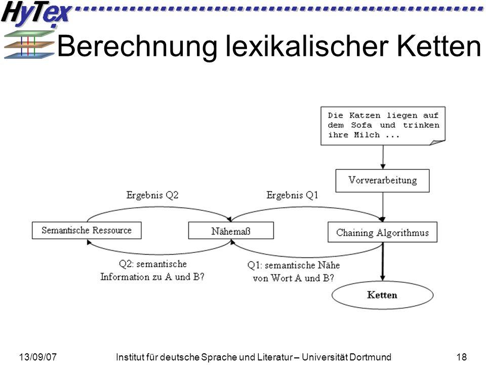 13/09/07Institut für deutsche Sprache und Literatur – Universität Dortmund18 Berechnung lexikalischer Ketten