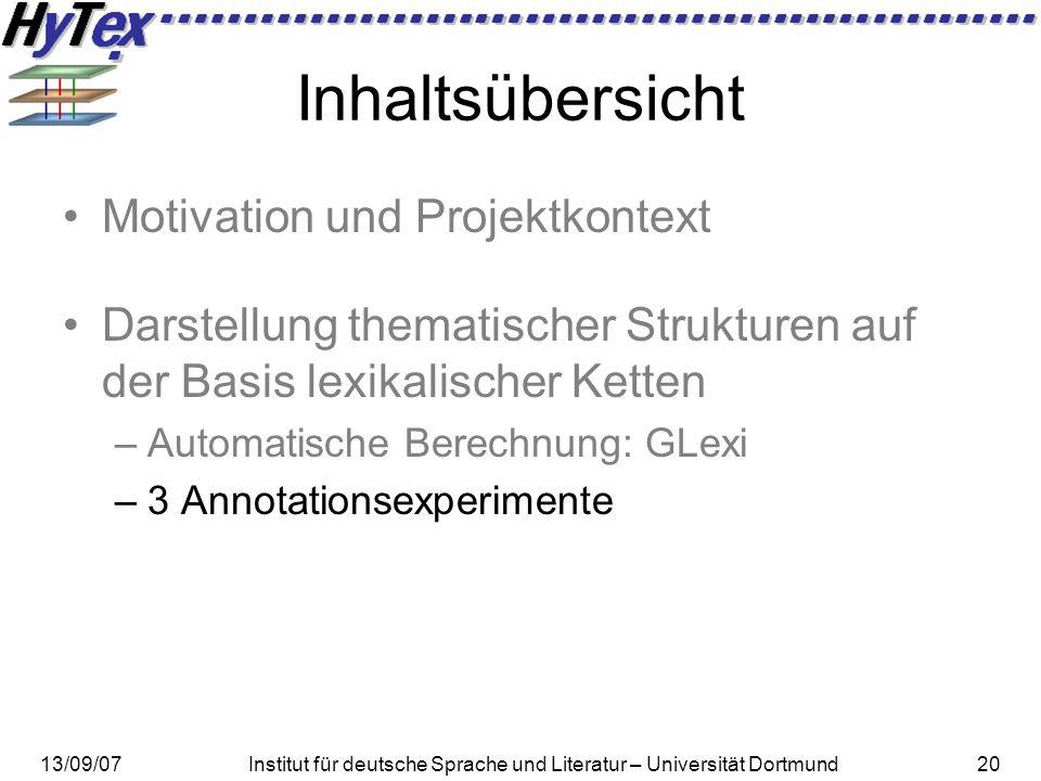 13/09/07Institut für deutsche Sprache und Literatur – Universität Dortmund20 Inhaltsübersicht Motivation und Projektkontext Darstellung thematischer S