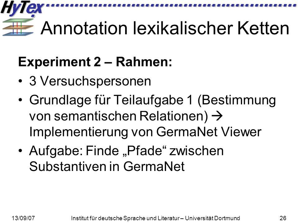 13/09/07Institut für deutsche Sprache und Literatur – Universität Dortmund26 Annotation lexikalischer Ketten Experiment 2 – Rahmen: 3 Versuchspersonen