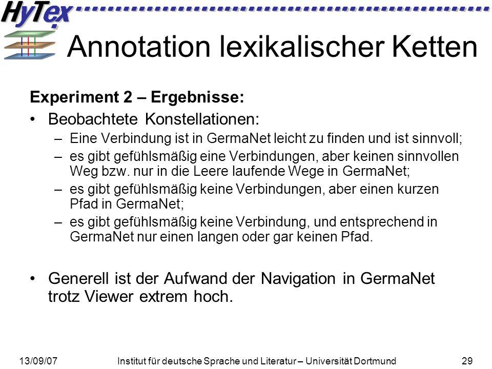 13/09/07Institut für deutsche Sprache und Literatur – Universität Dortmund29 Annotation lexikalischer Ketten Experiment 2 – Ergebnisse: Beobachtete Ko