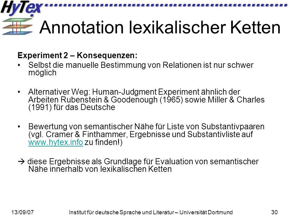 13/09/07Institut für deutsche Sprache und Literatur – Universität Dortmund30 Annotation lexikalischer Ketten Experiment 2 – Konsequenzen: Selbst die m