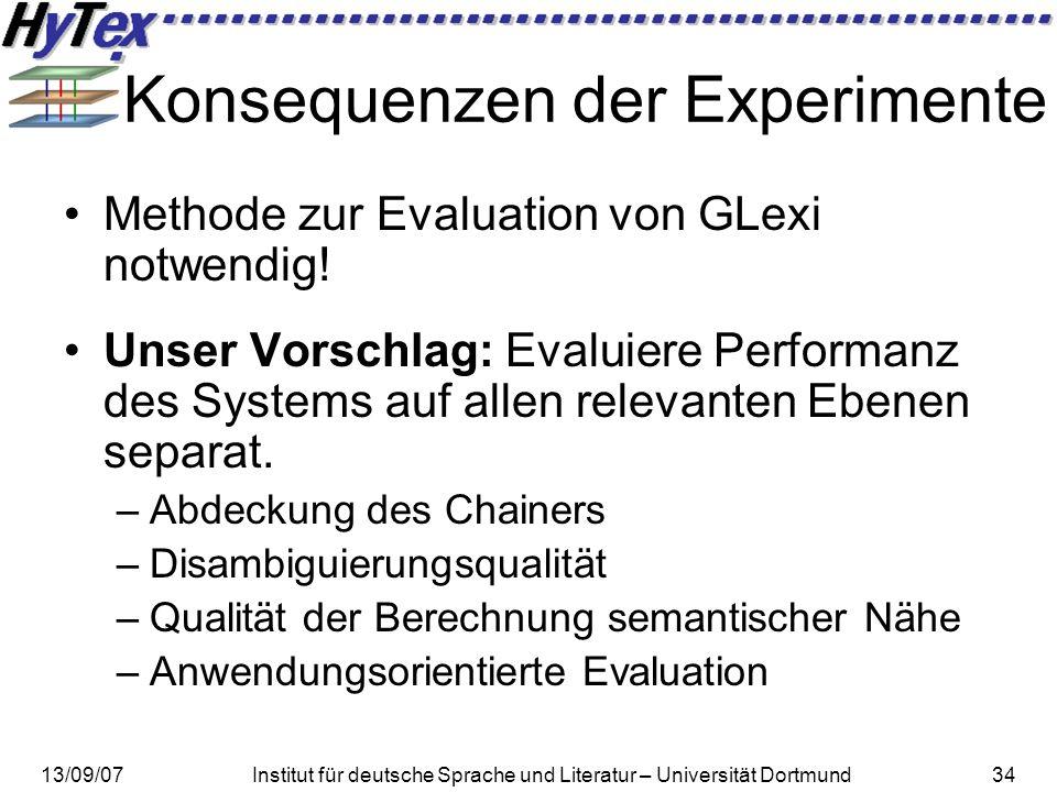 13/09/07Institut für deutsche Sprache und Literatur – Universität Dortmund34 Konsequenzen der Experimente Methode zur Evaluation von GLexi notwendig!