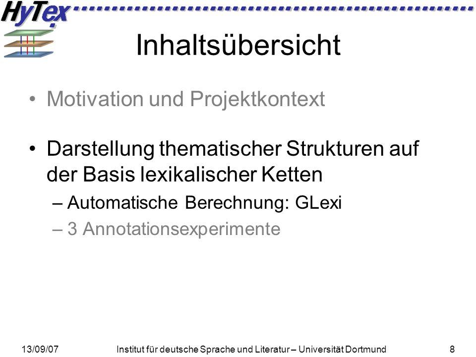 13/09/07Institut für deutsche Sprache und Literatur – Universität Dortmund8 Inhaltsübersicht Motivation und Projektkontext Darstellung thematischer St