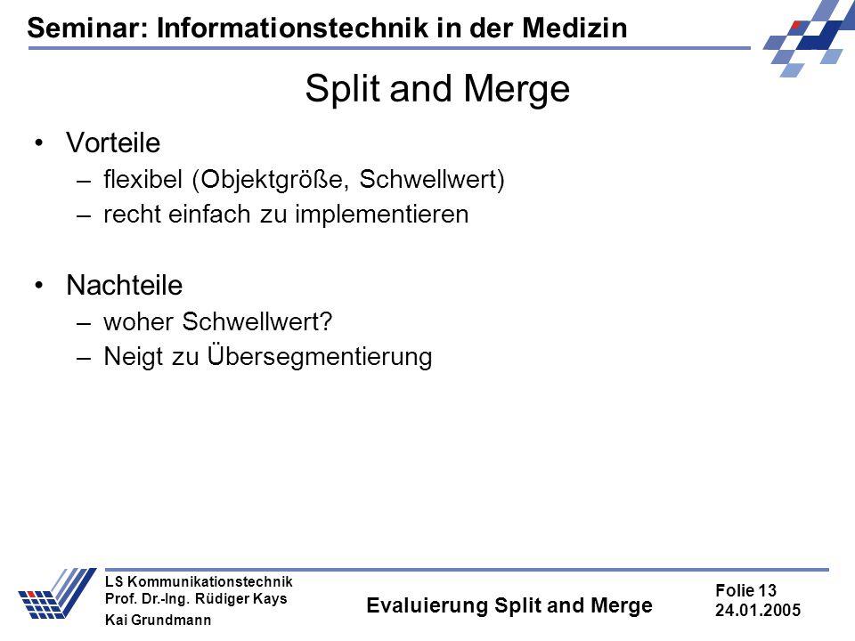 Seminar: Informationstechnik in der Medizin Folie 13 24.01.2005 LS Kommunikationstechnik Prof. Dr.-Ing. Rüdiger Kays Kai Grundmann Evaluierung Split a