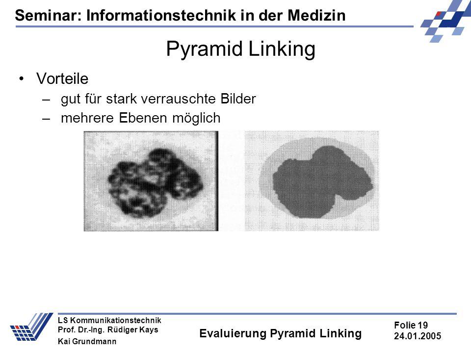 Seminar: Informationstechnik in der Medizin Folie 19 24.01.2005 LS Kommunikationstechnik Prof. Dr.-Ing. Rüdiger Kays Kai Grundmann Evaluierung Pyramid