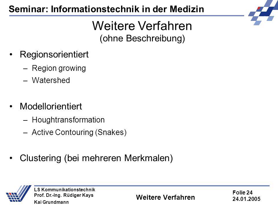 Seminar: Informationstechnik in der Medizin Folie 24 24.01.2005 LS Kommunikationstechnik Prof. Dr.-Ing. Rüdiger Kays Kai Grundmann Weitere Verfahren (
