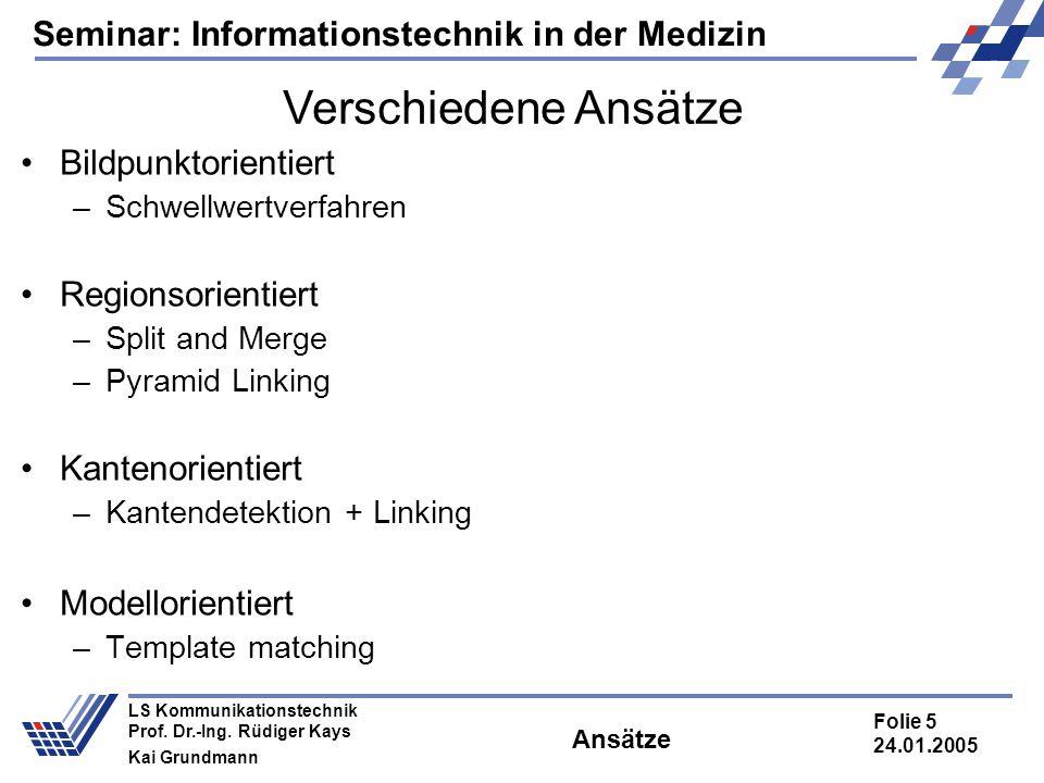 Seminar: Informationstechnik in der Medizin Folie 5 24.01.2005 LS Kommunikationstechnik Prof. Dr.-Ing. Rüdiger Kays Kai Grundmann Ansätze Bildpunktori