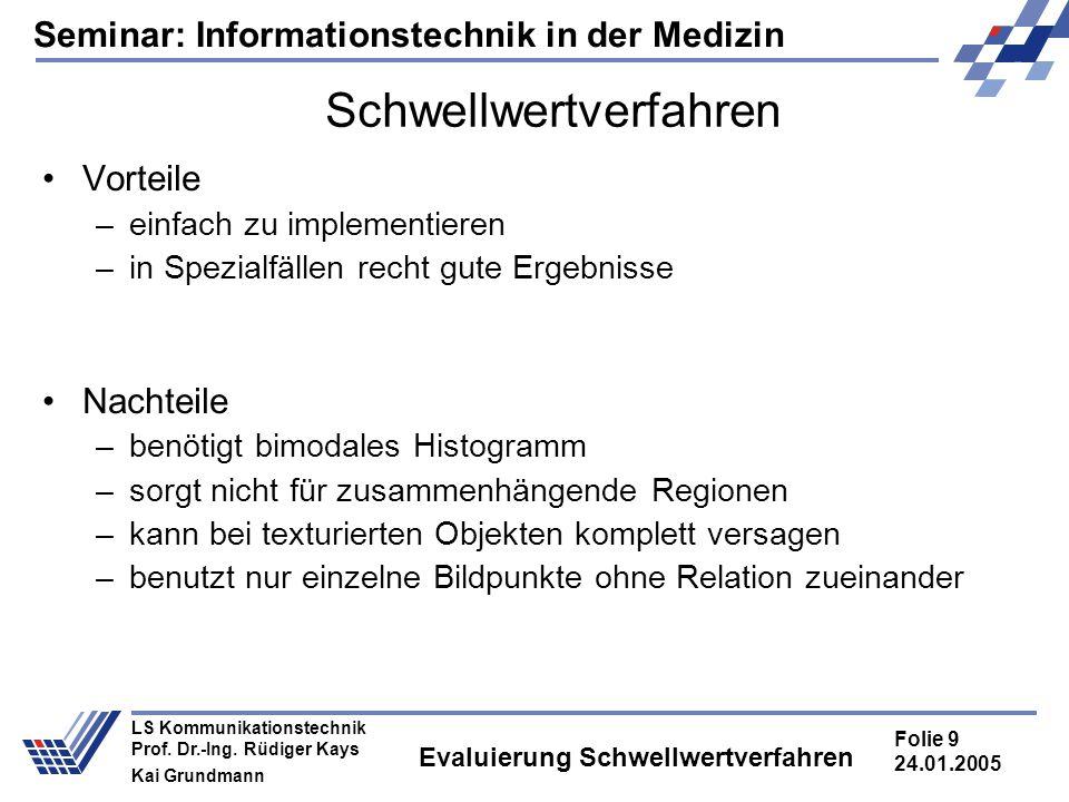 Seminar: Informationstechnik in der Medizin Folie 9 24.01.2005 LS Kommunikationstechnik Prof. Dr.-Ing. Rüdiger Kays Kai Grundmann Evaluierung Schwellw