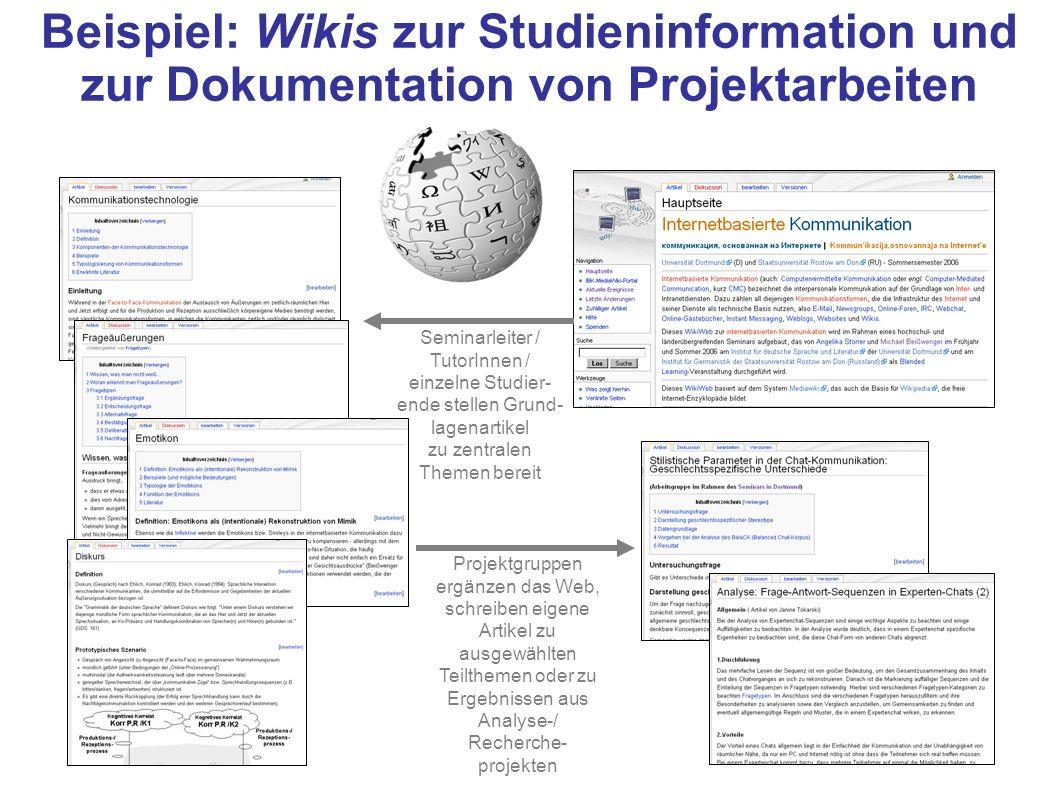 Beispiel: Wikis zur Studieninformation und zur Dokumentation von Projektarbeiten Seminarleiter / TutorInnen / einzelne Studier- ende stellen Grund- la