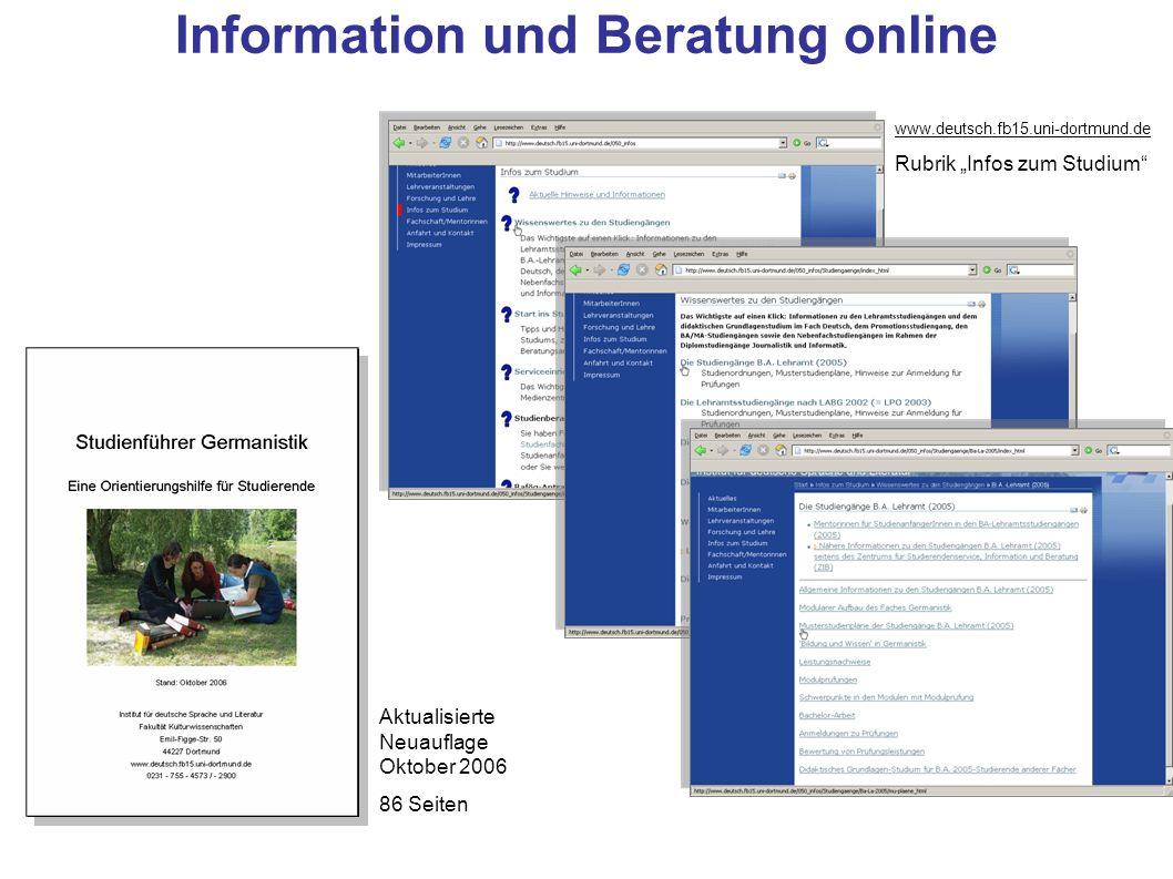 Aktualisierte Neuauflage Oktober 2006 86 Seiten www.deutsch.fb15.uni-dortmund.de Rubrik Infos zum Studium