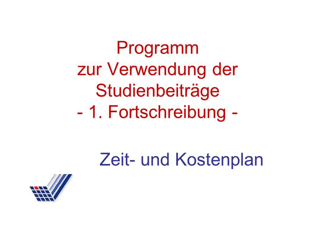 Programm zur Verwendung der Studienbeiträge - 1. Fortschreibung - Zeit- und Kostenplan
