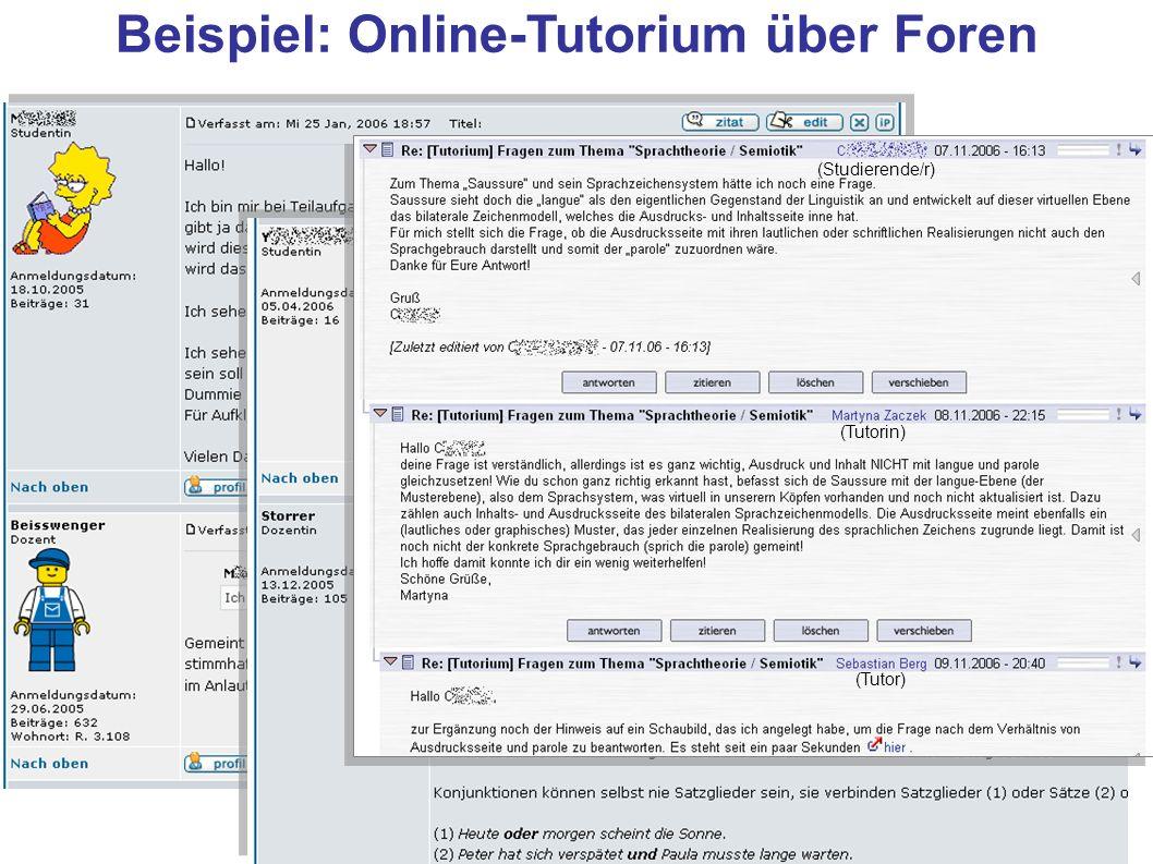 Beispiel: Online-Tutorium über Foren (Tutorin) (Tutor) (Studierende/r)