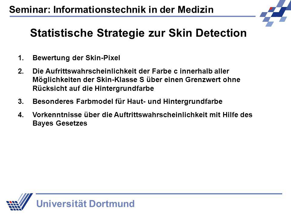 Seminar: Informationstechnik in der Medizin Universität Dortmund Statistische Strategie zur Skin Detection 1.Bewertung der Skin-Pixel 2.Die Aufrittswahrscheinlichkeit der Farbe c innerhalb aller Möglichkeiten der Skin-Klasse S über einen Grenzwert ohne Rücksicht auf die Hintergrundfarbe 3.Besonderes Farbmodel für Haut- und Hintergrundfarbe 4.Vorkenntnisse über die Auftrittswahrscheinlichkeit mit Hilfe des Bayes Gesetzes