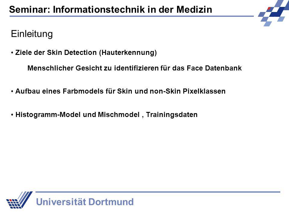 Seminar: Informationstechnik in der Medizin Universität Dortmund Einleitung Ziele der Skin Detection (Hauterkennung) Menschlicher Gesicht zu identifizieren für das Face Datenbank Aufbau eines Farbmodels für Skin und non-Skin Pixelklassen Histogramm-Model und Mischmodel, Trainingsdaten