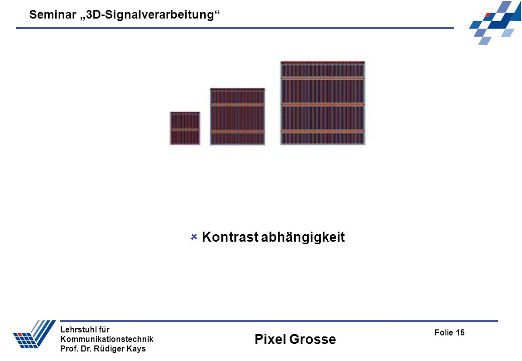 Seminar 3D-Signalverarbeitung Folie 15 Lehrstuhl für Kommunikationstechnik Prof.