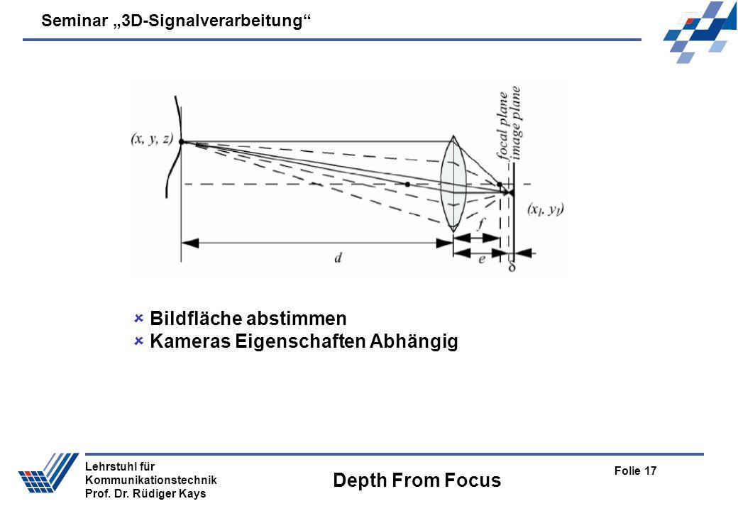 Seminar 3D-Signalverarbeitung Folie 17 Lehrstuhl für Kommunikationstechnik Prof. Dr. Rüdiger Kays Depth From Focus Bildfläche abstimmen Kameras Eigens