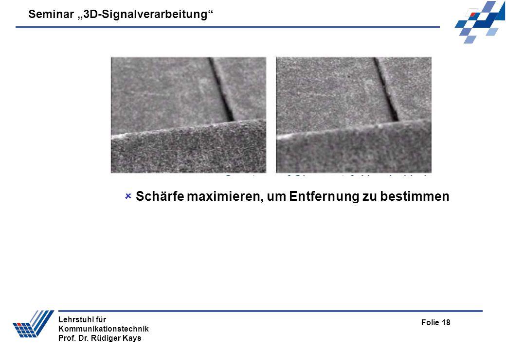 Seminar 3D-Signalverarbeitung Folie 18 Lehrstuhl für Kommunikationstechnik Prof. Dr. Rüdiger Kays Schärfe maximieren, um Entfernung zu bestimmen