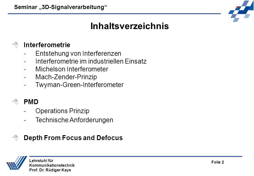 Seminar 3D-Signalverarbeitung Folie 2 Lehrstuhl für Kommunikationstechnik Prof. Dr. Rüdiger Kays Inhaltsverzeichnis Interferometrie -Entstehung von In