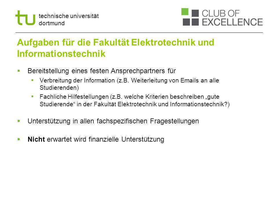 technische universität dortmund Aufgaben für die Fakultät Elektrotechnik und Informationstechnik Bereitstellung eines festen Ansprechpartners für Verb