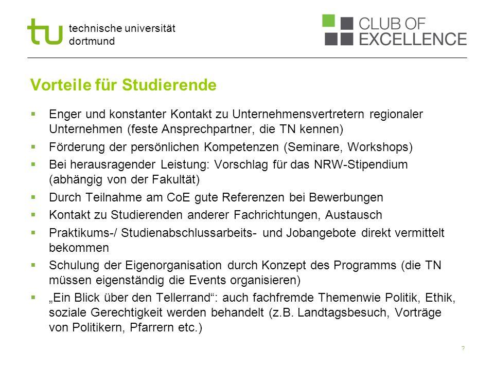 technische universität dortmund Vorteile für Studierende Enger und konstanter Kontakt zu Unternehmensvertretern regionaler Unternehmen (feste Ansprech