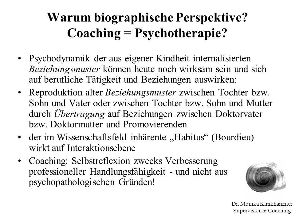 Dr. Monika Klinkhammer Supervision & Coaching Warum biographische Perspektive? Coaching = Psychotherapie? Psychodynamik der aus eigener Kindheit inter