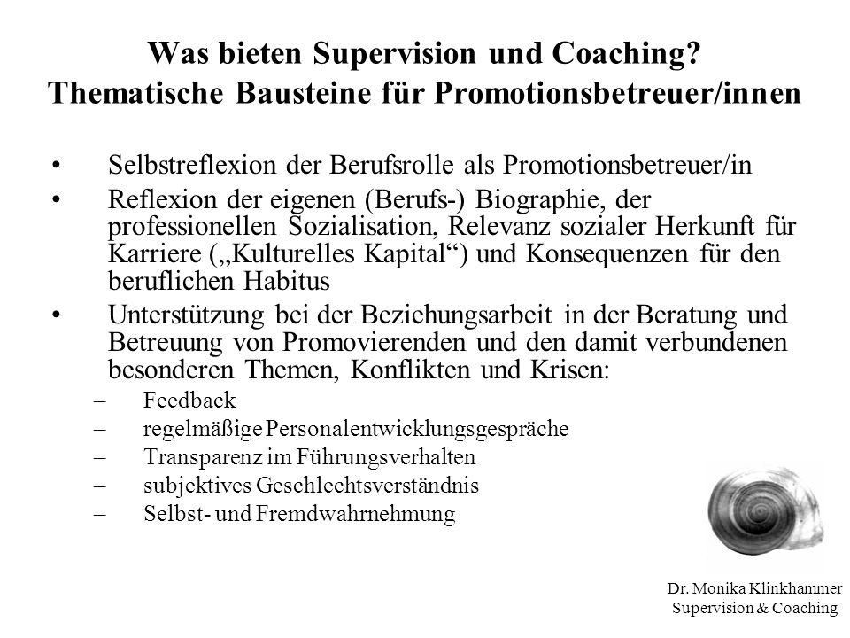 Dr. Monika Klinkhammer Supervision & Coaching Was bieten Supervision und Coaching? Thematische Bausteine für Promotionsbetreuer/innen Selbstreflexion