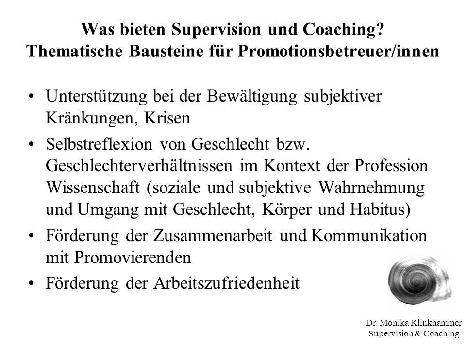 Dr. Monika Klinkhammer Supervision & Coaching Was bieten Supervision und Coaching? Thematische Bausteine für Promotionsbetreuer/innen Unterstützung be
