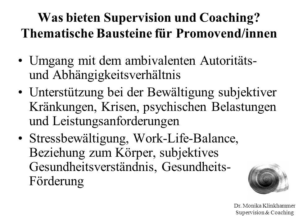 Dr. Monika Klinkhammer Supervision & Coaching Was bieten Supervision und Coaching? Thematische Bausteine für Promovend/innen Umgang mit dem ambivalent