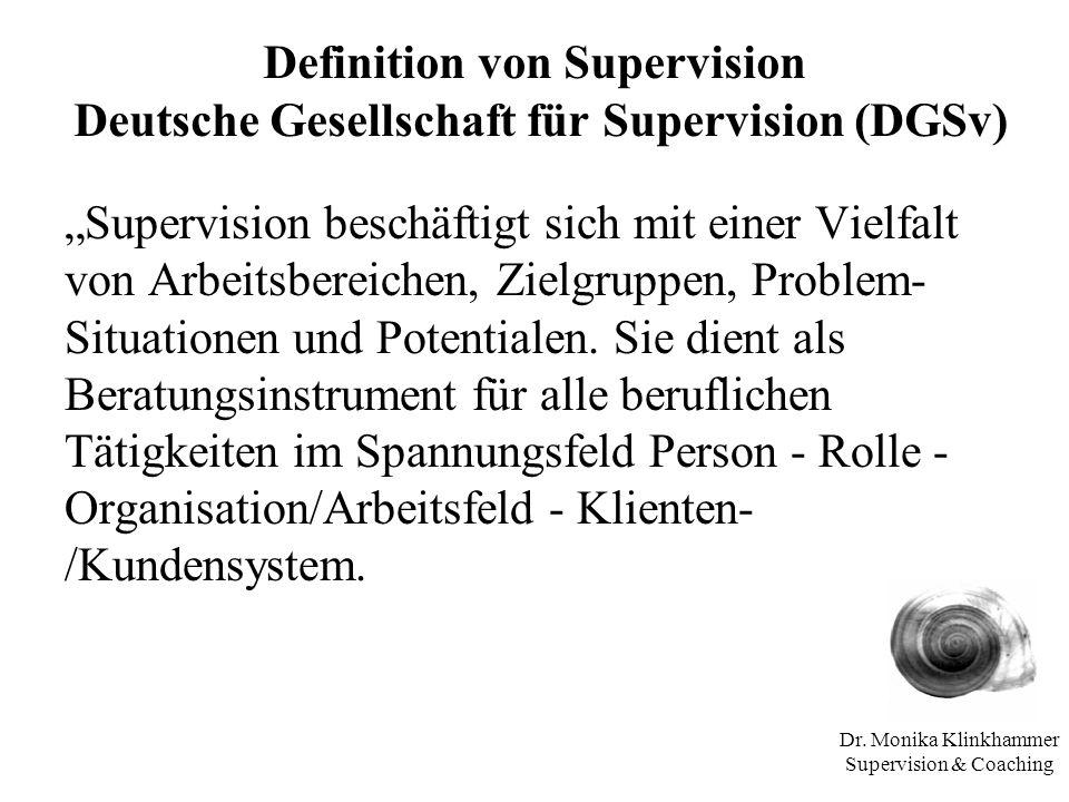 Dr. Monika Klinkhammer Supervision & Coaching Definition von Supervision Deutsche Gesellschaft für Supervision (DGSv) Supervision beschäftigt sich mit
