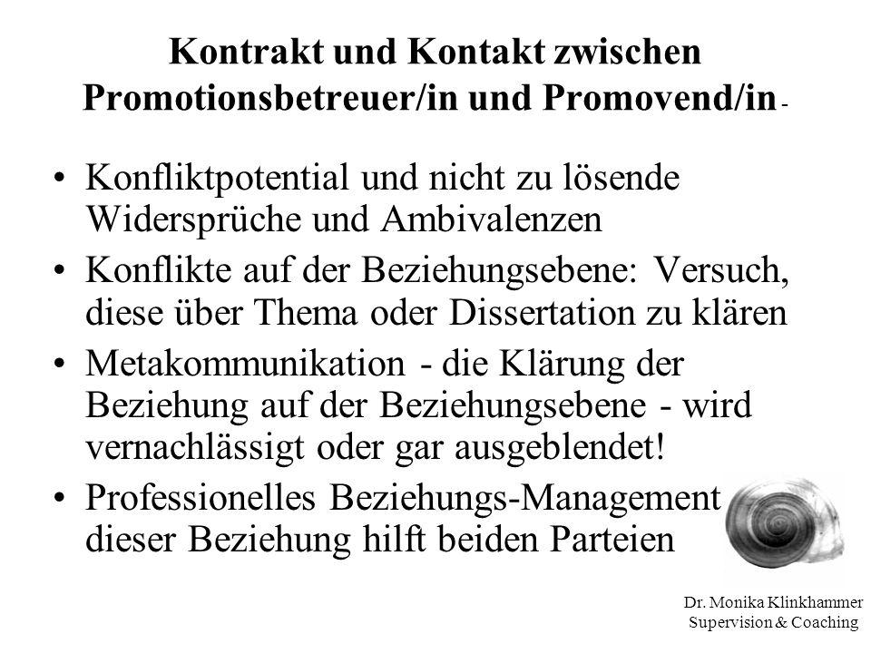 Dr. Monika Klinkhammer Supervision & Coaching Kontrakt und Kontakt zwischen Promotionsbetreuer/in und Promovend/in - Konfliktpotential und nicht zu lö